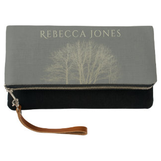 ELEGANT GREY GOLD FALL AUTUMN TREES MONOGRAM CLUTCH