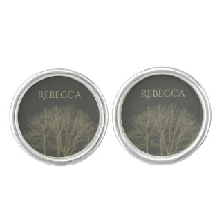 ELEGANT GREY GOLD FALL AUTUMN TREES MONOGRAM CUFFLINKS