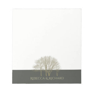 ELEGANT GREY GOLD FALL AUTUMN TREES MONOGRAM NOTEPAD