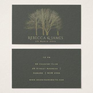 ELEGANT GREY GOLD FALL AUTUMN TREES Wedding Business Card