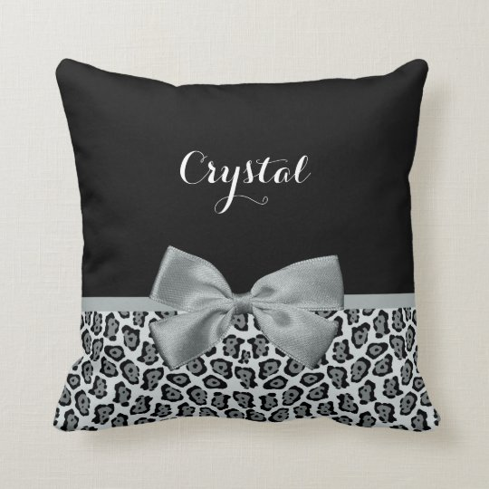 Elegant Grey Jaguar Print Pretty Name Silver Bow Throw Pillow