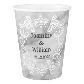 Elegant Grey Marble Pattern Wedding Paper Cup