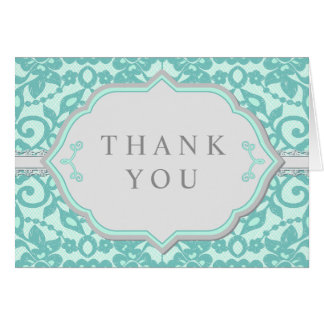 Elegant Grey & Mint Lace Thank You Cards