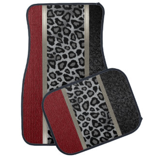 Elegant Grey, Red and Leopard Animal Design Car Mat