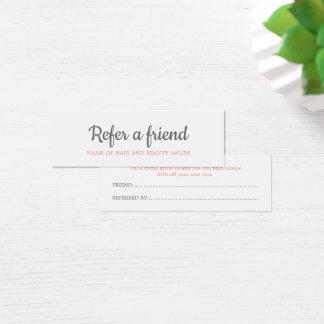Elegant Grey Salmon Beauty Salon Referral Card