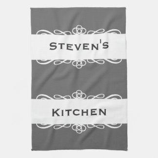 Elegant grey stripe name kitchen tea towel