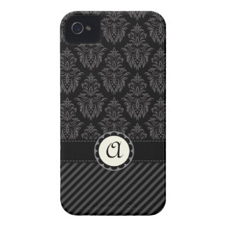 Elegant grey stripes monogram BlackBerry Bold case