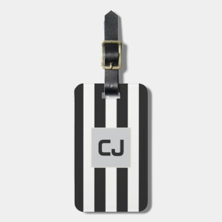 Elegant Grey White Stripes Monogram Luggage Tag