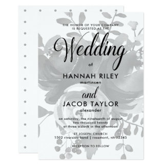 Elegant Grey with Floral and Dots Wedding Card
