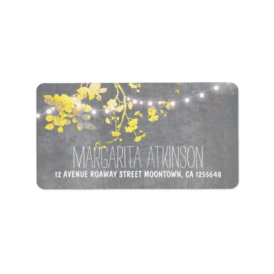 elegant grey yellow string lights address labels