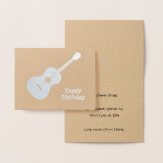 Elegant Guitar - Silver or Gold Motif for Musician Foil Card