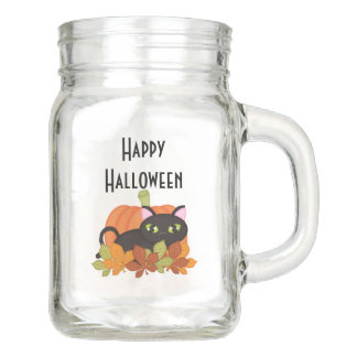 Elegant Halloween Mason Jar - Black Cat