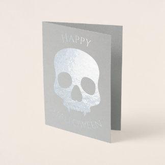 Elegant Halloween skull glam silver Foil Card