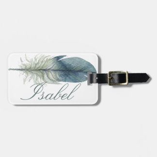 Elegant Hand drawn blue gray watercolor feather Luggage Tag