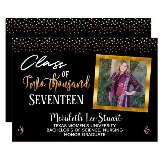 Elegant Hand Lettered 2 Photo Trendy Graduation Card