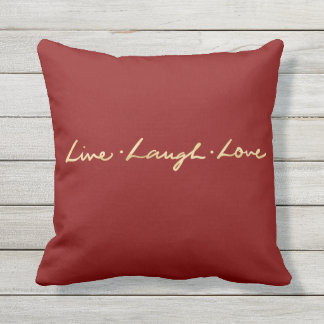 Elegant Hand Lettered Faux Gold Live laugh Love Throw Pillow