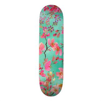 Elegant hand paint watercolor spring floral custom skateboard