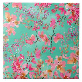 Elegant hand paint watercolor spring floral tile