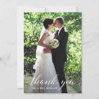 Elegant Handwriting Wedding Photo Thank You