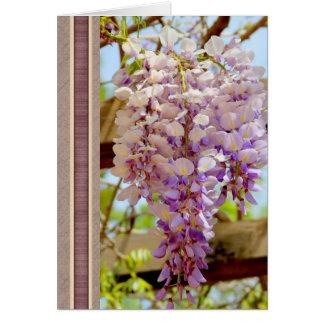 Elegant Happy Birthday Card with Glicinia Flower