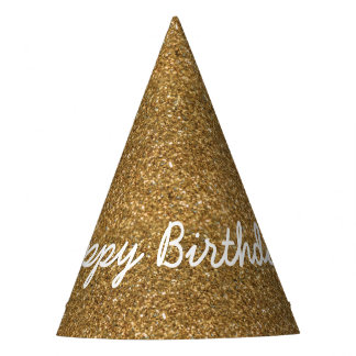 Elegant Happy Birthday in Faux Gold Glitters Party Hat
