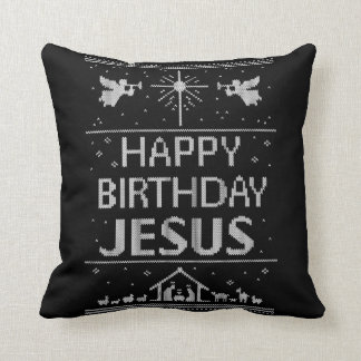 Elegant Happy Birthday Jesus Christmas Religious Throw Pillow