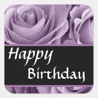 Elegant Happy Birthday Soft Purple Roses Sticker