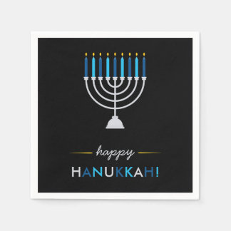 Elegant Happy Hanukkah Black with Silver Menorah Disposable Napkin