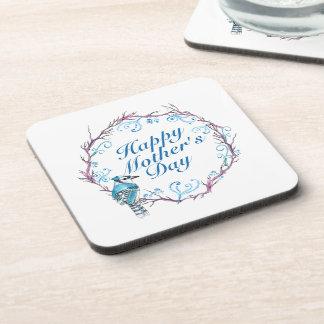 Elegant Happy Mother's Day Blue Wreath Coaster
