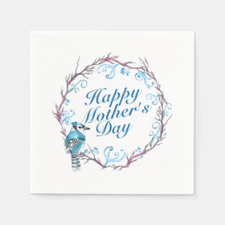 Elegant Happy Mother's Day Blue Wreath Napkin Disposable Napkins