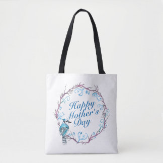 Elegant Happy Mother's Day Blue Wreath Tote Bag