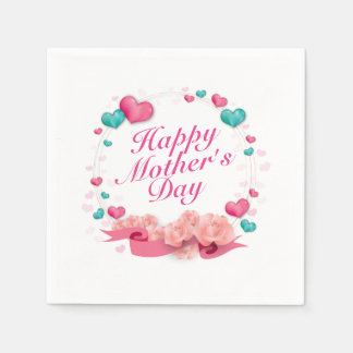 Elegant Happy Mother's Day Candy Hearts Napkin Paper Napkins