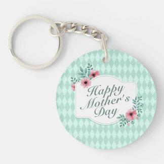Elegant Happy Mother's Day Floral Frame Keychain