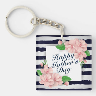 Elegant Happy Mother's Day Floral Frame Keychain
