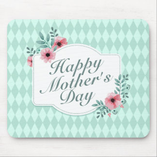 Elegant Happy Mother's Day Floral Frame Mousepad