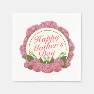 Elegant Happy Mother's Day Floral Frame Napkin Disposable Napkin