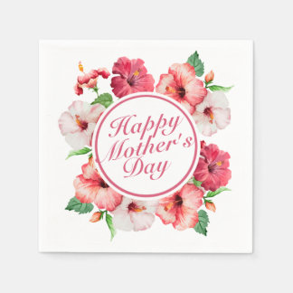 Elegant Happy Mother's Day Floral Frame Napkin Disposable Napkins