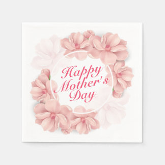Elegant Happy Mother's Day Floral Frame Napkin Paper Napkin