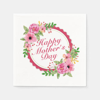Elegant Happy Mother's Day Floral Frame Napkin Paper Napkins