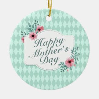Elegant Happy Mother's Day Floral Frame Ornament