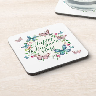 Elegant Happy Mother's Day Floral Wreath Coaster