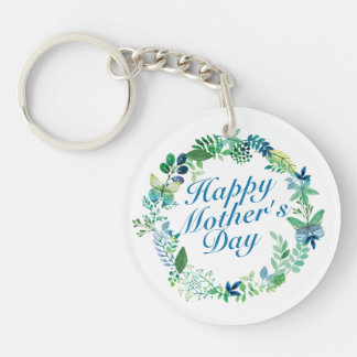 Elegant Happy Mother's Day Floral Wreath Keychain