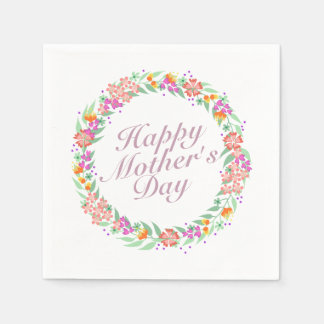 Elegant Happy Mother's Day Floral Wreath Napkin Disposable Napkin