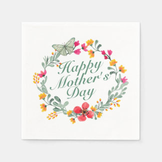 Elegant Happy Mother's Day Floral Wreath Napkin Disposable Napkins