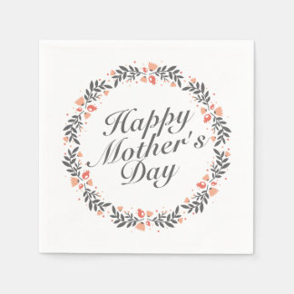 Elegant Happy Mother's Day Floral Wreath | Napkin Disposable Napkins
