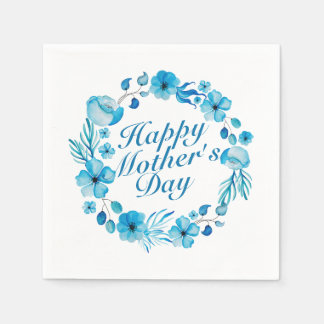 Elegant Happy Mother's Day Floral Wreath Napkin Paper Napkins