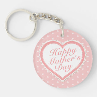 Elegant Happy Mother's Day Pink Hearts Keychain