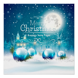 Elegant Happy New Year & Merry White Christmas Poster