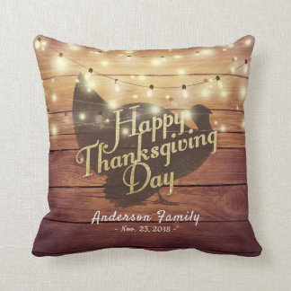 Elegant Happy Thanksgiving Day Turkey String Light Throw Pillow