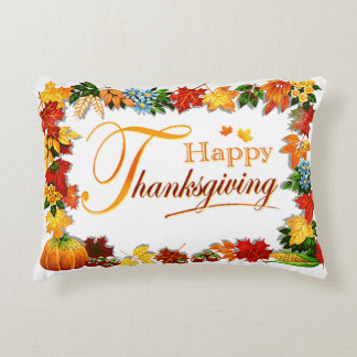 Elegant Happy Thanksgiving Greetings Decorative Pillow